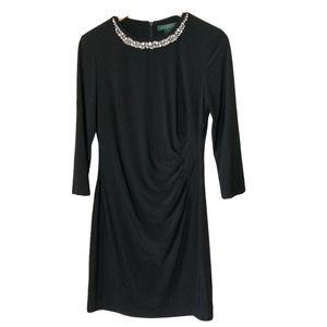 Ralph Lauren Embellished Neck Black Sheath Dress